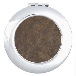 Western-styled Tooled-Leather-look Design 3 Compact Mirror