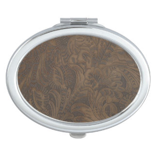 Western-styled Tooled-Leather-look Design 3 Mirror For Makeup