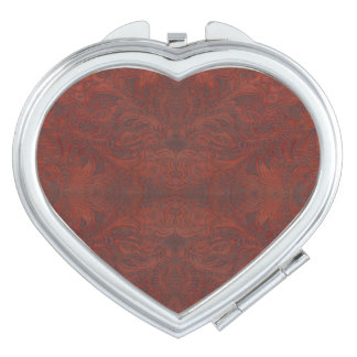 Western-styled Tooled-Leather-look Design 4 Travel Mirrors
