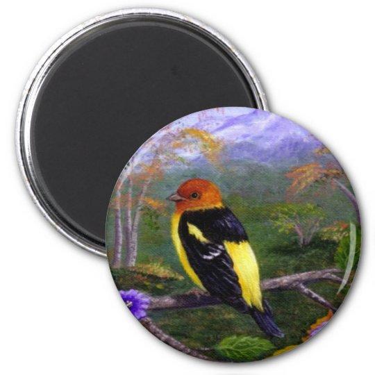 Western Tanager Bird Wildlife Creationarts Nature 6 Cm Round Magnet