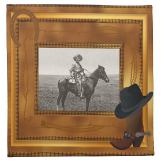 Western Theme with Boot & Hat Photo Template Printed Napkin