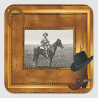 Western Theme with Boot & Hat Photo Template Square Sticker