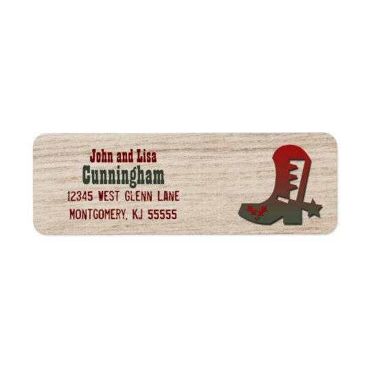 Western Themed Red and Green Holiday Cowboy Boot