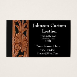 Western  Tooled Leather  Business Card Template