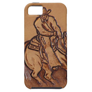 Western tooled leather Riding Cowboy iPhone 5 Cases