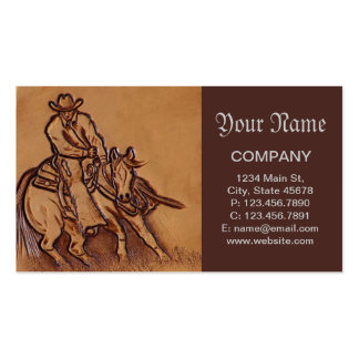 Western tooled leather Riding Cowboy Pack Of Standard Business Cards