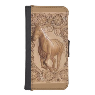 Western tooled leather Vintage horse iPhone SE/5/5s Wallet Case