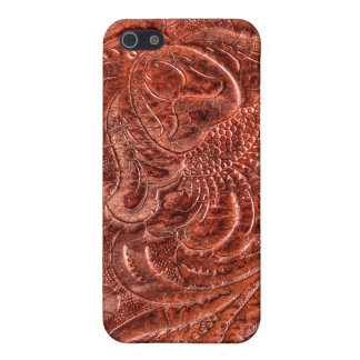 Western Tooled Saddle Leather-look Texture 4 Cover For iPhone 5