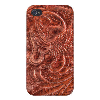 Western Tooled Saddle Leather-look Texture 4 iPhone 4 Cases