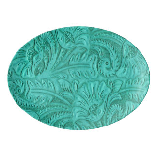 Western Turquoise Tooled Leather print Porcelain Serving Platter