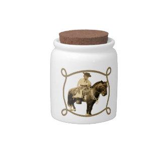 Western Vintage Cowboy On Horse Candy Jar