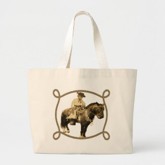Western Vintage Cowboy On Horse Canvas Bags