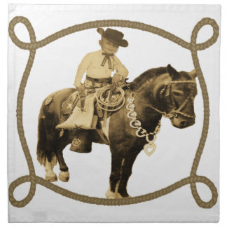 Western Vintage Cowboy On Horse Cloth Napkin