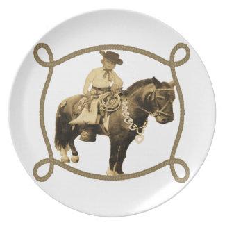 Western Vintage Cowboy On Horse Plate
