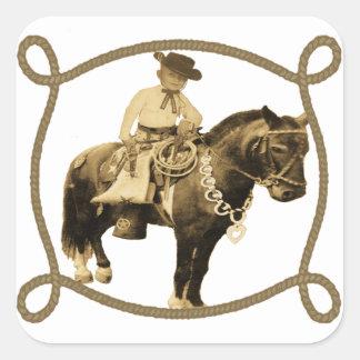 Western Vintage Cowboy On Horse Square Sticker