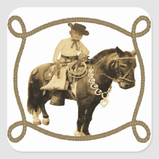 Western Vintage Cowboy On Horse Square Stickers
