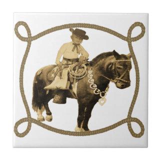 Western Vintage Cowboy On Horse Tiles