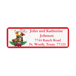 Western Vintage Cowgirl On Horse Merry Christmas 3 Return Address Label