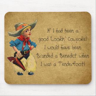 Western Vintage Fun Lil' Cowpoke Cowboy Mousepad