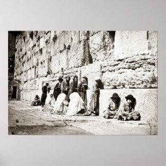 Western Wall- Photo by Felix Bonfils- Circa 1870s Poster