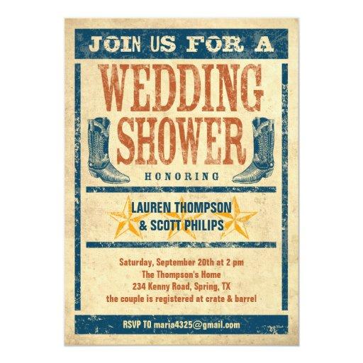 Western Wedding Shower Invitations