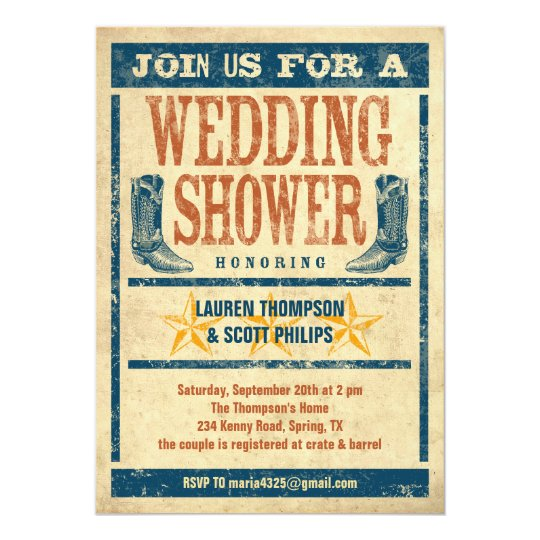 Western Wedding Shower Invitations