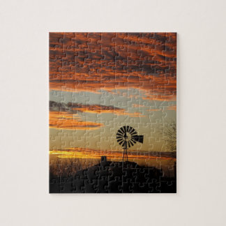 Western Windmill Sunset Jigsaw Puzzle