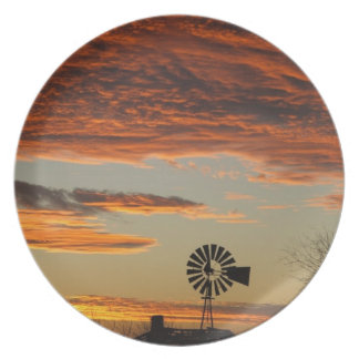 Western Windmill Sunset Plate