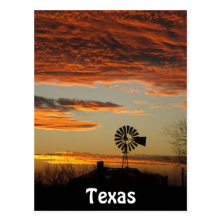 Western Windmill Sunset Postcard