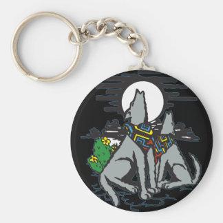 Western Wolf Howl Basic Round Button Key Ring