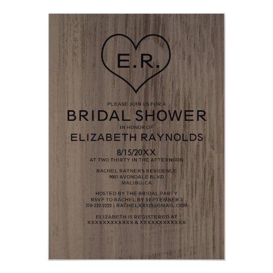 Western Wood Grain Bridal Shower Invitations