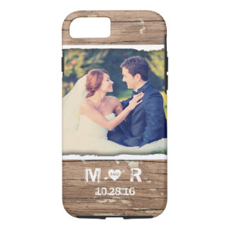 Western Wood Rustic Country Wedding Photo Monogram iPhone 8/7 Case