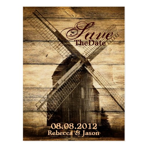 western woodgrain windmill country savethedate postcards