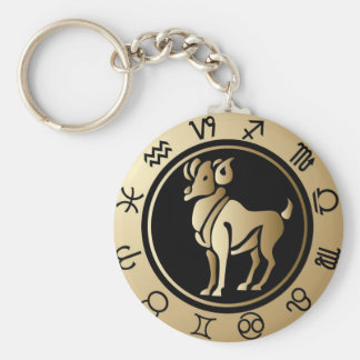 Western Zodiac - Aries Basic Round Button Key Ring
