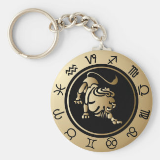 Western Zodiac - Leo Basic Round Button Key Ring