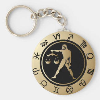 Western Zodiac - Libra Basic Round Button Key Ring