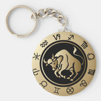 Western Zodiac - Taurus Basic Round Button Key Ring