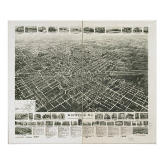 Westfield New Jersey 1929 Antique Panoramic Map Poster