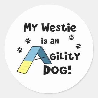 Westie Agility Dog Round Sticker