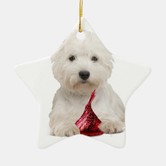 Westie and red candy kiss christmas ornament
