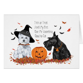 Westie and Scottie Halloween Card
