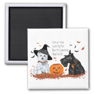 Westie and Scottie Halloween Square Magnet