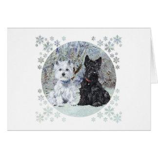 Westie and Scottie in Snowy Landscape Card