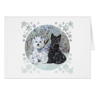 Westie and Scottie in Snowy Landscape Greeting Card