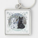 Westie and Scottie in Snowy Landscape Silver-Colored Square Key Ring