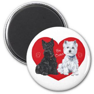 Westie and Scottie Valentine 6 Cm Round Magnet