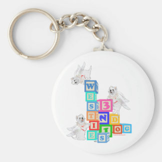 Westie Angel Blocks Basic Round Button Key Ring