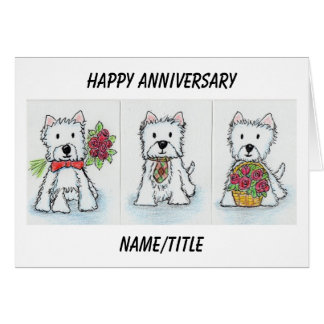 Westie Anniversary card wife mum dad husband