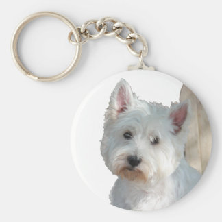 WESTIE AT THE GATE KEY RING