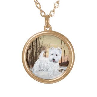 Westie at Twilight Round Pendant Necklace